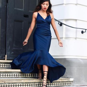Blue Long High-Low Prom Dresses 2019 Mermaid Sleeveless