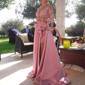Pink Long Prom Dresses 2018 A-line V-Neck Long Sleeves Lace