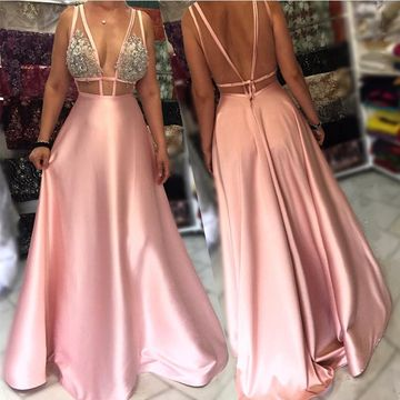 Pink Long Prom Dresses 2018 A-line V-Neck Sleeveless