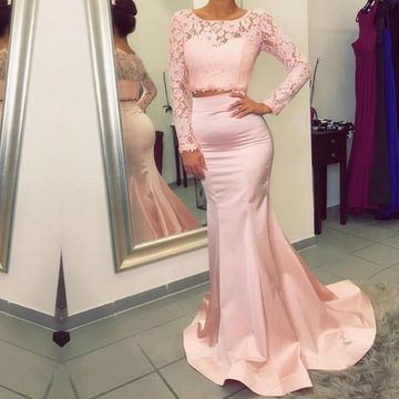 Pink Long Prom Dresses 2018 Mermaid Long Sleeves Lace Two Piece