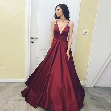 Burgundy Long Prom Dresses 2018 A-line V-Neck Sleeveless Open Back