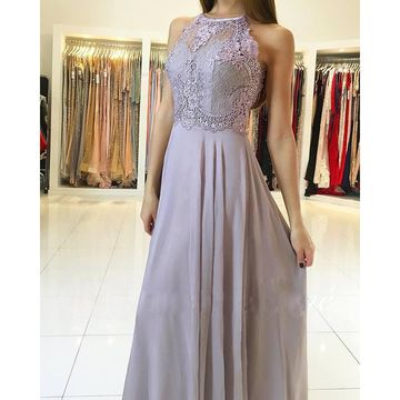 Long Bridesmaid Dresses / Prom Dresses 2018 A-line Sleeveless Chiffon Lace