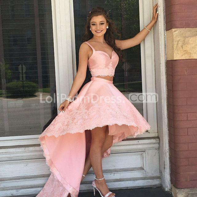49%OFF Pink High-Low Prom Dresses 2019 A-line For Short ... - photo #27