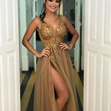 49off Gold Sequin Long Prom Dresses 2018 A Line V Neck Sleeveless