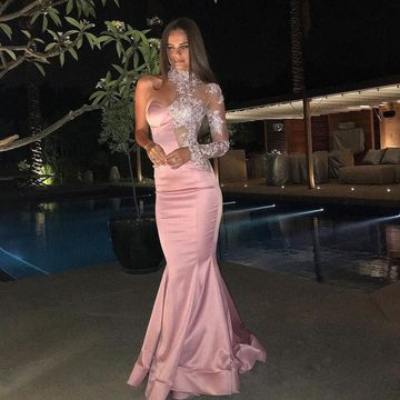 Pink Long Prom Dresses 2018 Mermaid Long Sleeves Lace