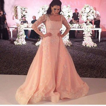 Pink Long Prom Dresses 2018 A-line Long Sleeves