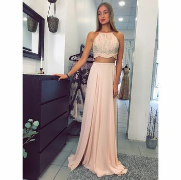 Pink Long Prom Dresses 2018 Two Piece A-line Open Back Chiffon