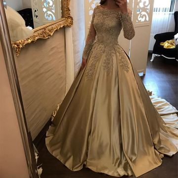 Cheap Elegant Ball Gown Long Sleeves Appliques Prom Dresses 2019 Modest For Short Girls