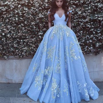 Blue Long Prom Dresses 2018 Ball Gown V-Neck