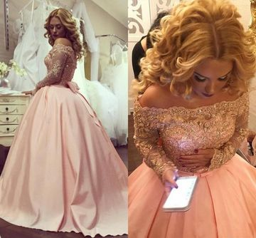 Pink Long Prom Dresses 2018 Ball Gown Long Sleeves