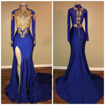 Royal Blue Long Prom Dresses 2019 Long Sleeves Mermaid