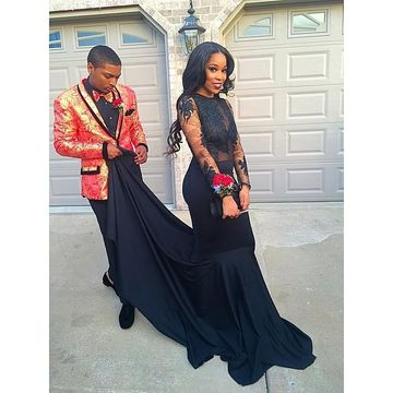 Black Long Prom Dresses 2018 Long Sleeves Mermaid
