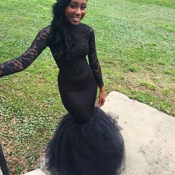 Floral Black Mermaid Long Sleeves Prom Dresses 2018 Lace Sexy