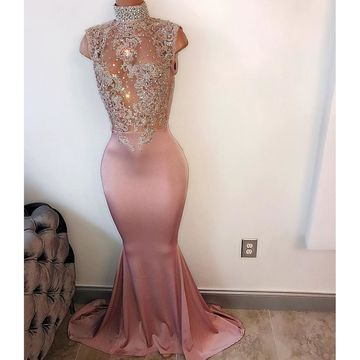 Long Sexy Mermaid High Neck Sleeveless Beading Prom Dresses 2018
