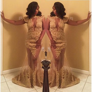 Gold Sequin Long Prom Dresses 2018 Lace African Sexy For Short Girls Mermaid