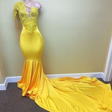 Yellow Long Prom Dresses 2018 Long Sleeves Sexy