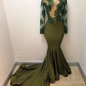 Green Long Prom Dresses 2018 Long Sleeves Mermaid