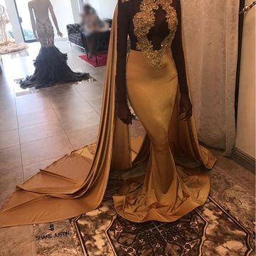 Gold Sequin Long Prom Dresses 2019