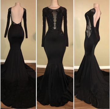 Black Long Prom Dresses 2018 Mermaid Long Sleeves Open Back