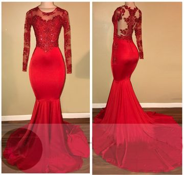 Red Long Prom Dresses 2018 Mermaid Long Sleeves