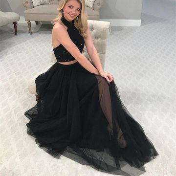 49%OFF Black Long Prom Dresses 2018 A-line Halter Two Piece ...