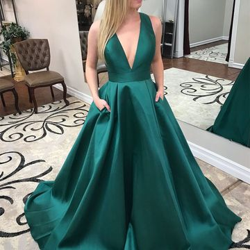 Long Prom Dresses 2018 A-line V-Neck Sleeveless