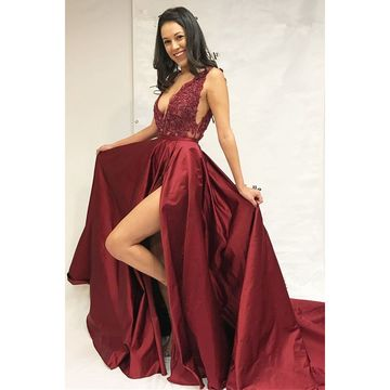 Burgundy Long Prom Dresses 2018 A-line V-Neck Sleeveless