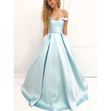 Blue Long Prom Dresses 2018 A-line