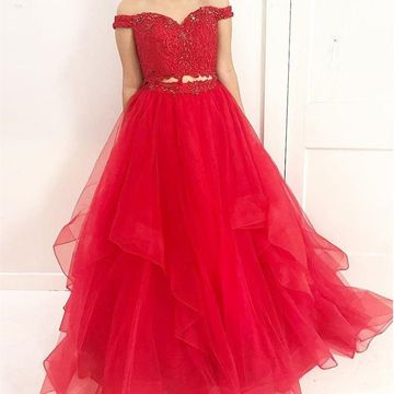 Red Long Prom Dresses 2018 A-line Lace Two Piece