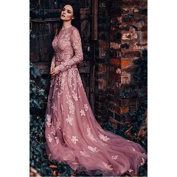 Pink Long Prom Dresses 2018 Long Sleeves Lace