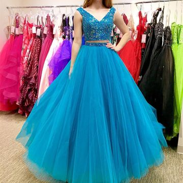 Blue Long Prom Dresses 2018 A-line Ball Gown V-Neck Two Piece