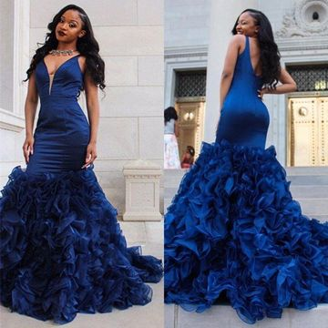 Dark Navy Long Prom Dresses 2018 Mermaid V-Neck Sleeveless