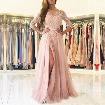 Pink Long Prom Dresses 2018 A-line Lace