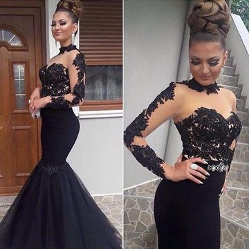 Black Long Prom Dresses 2018 Mermaid Long Sleeves Lace Sexy