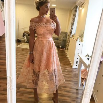 Pink Short Prom Dresses 2018 A-line Lace
