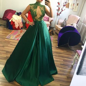 Green Long Prom Dresses 2018 Sleeveless Sexy A-line