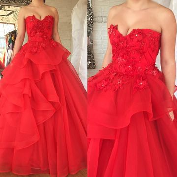 Red Long Prom Dresses 2018 Ball Gown Sleeveless