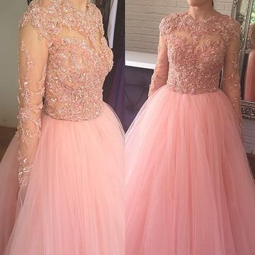 Pink Long Prom Dresses 2019 A-line Ball Gown Long Sleeves