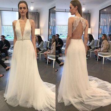 V-neck Sleeveless Lace 2018 A-line Wedding Dress Open Back