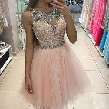 Pink Illusion Sleeveless A-line 2018 Homecoming Dress