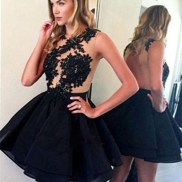 Black Illusion Lace A-line 2018 Homecoming Dress