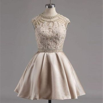 Beige/Champagne Short Homecoming Dresses 2018 A-line