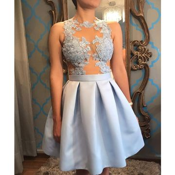 Blue Illusion Sleeveless Lace A-line 2018 Homecoming Dress
