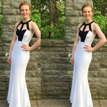 Long White Sheath Sleeveless Zipper Bridesmaid Dresses / Prom Dresses 2018 For Short Girls