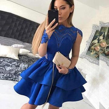 Blue Illusion Long Sleeves Lace A-line 2019 Homecoming Dress
