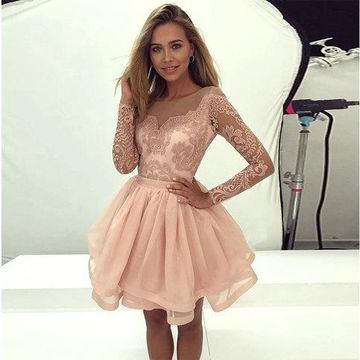 Pink Long Sleeves Lace 2019 A-line Homecoming Dress