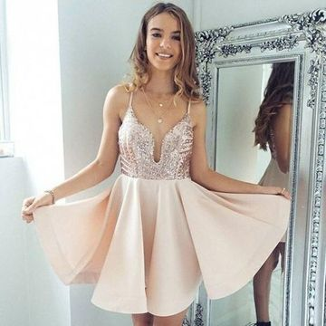 Pink Sequins A-line 2019 Homecoming Dress