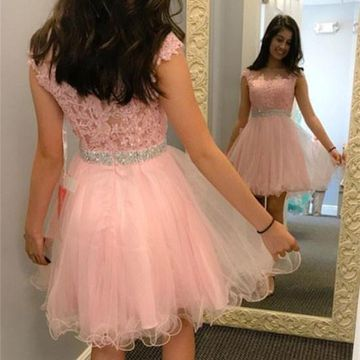 Pink Sleeveless Lace A-line 2018 Homecoming Dress