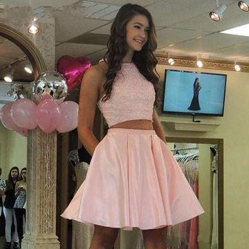 Pink Sleeveless A-line Beading 2018 Homecoming Dress Two Piece