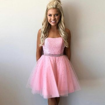 Pink Strapless A-line Beading 2018 Homecoming Dress